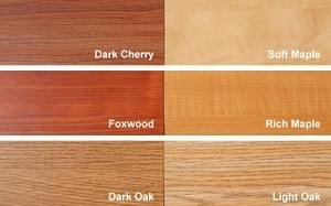 Wood colors available include Dark Cherry, Soft Maple, Foxwood, Rich Maple, Dark Oak and Light Oak.