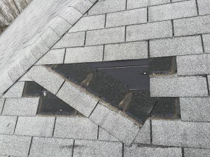Wind ripped off two shingles and loosened the nail hem on another one. Sealants did not hold this roof down and you'll notice the creases on the lower shingle which caused lift up and resulted in granule loss.